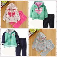 Free Shipping cute Baby Girls long Sleeve Jacket+Pant 2pcs Clothing set,newborn Baby boy girl clothes,New Infant conjuntos