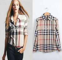 Free shipping Fashion autumn shirt women blouse Europe stripe plaid vintage long sleeve tops for women clothing ladies blouses