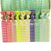 New Arrival Wholesale Chevron Foil Fold Over Elastic Hair Tie Ponytail Holder Yoga Ribbon Hair Band