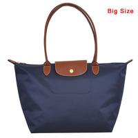 2014 New Women Brand Nylon Bag Shoulder messenger Cosmetic Bag dumplings shopping folding Bag Leather Handle