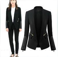ZA brand new autumn winter 2014 women black stand collar suit fashion PU leather stitching Slim elegant small blazer Outerwear