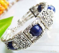 New Fashion Jewelry Wholesale Cheap Tibetan Tibet silver natural blue lapis lazuli  bangle bracelet  / free shipping 1pcs