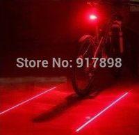 Free Shipping 2 Laser + 5 LED Bicycle Bike Cycling Taillight Warning Lamp Flashing Alarm Light