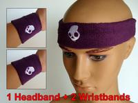 1 Set Sport Sweatband ( 1 headband + 2 wristbands) Spandex Skull Head Hand Wrist Sweat Bands for Tennis Basketball Sports Purple