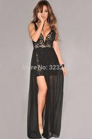 Dresses new fashion 2014 women elegant party dresses lace dress long maxi dress vestidos