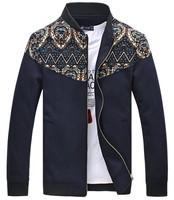 Autumn winter mans jackets Spell color collar jacket men Plus-size coat Men's clothes Trend Free shipping New 2014 M-5XL