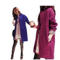 2014 New women winter coat Fashion British style woolen overcoat medium-long loose plus size woollen coat outerwear 2 Colors 500