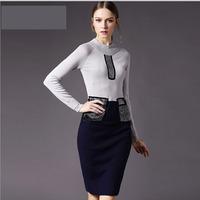 Europe Style Women's Knitting Sweater Sheath Bodycon Dress 2014 New Elegant Lady Beaded Color Block Slim Winter Basic Dress S-XL