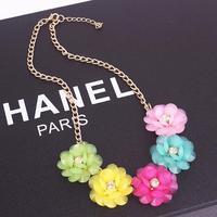 1724#Korean fashion summer sweet rich flowers short necklace temperament.