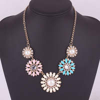 1720#Hot new fashion luxury crystal flowers temperament short necklace
