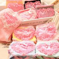 Free shipping Low Waist Women's underwear cute plaid cotton briefs underwear love Briefs