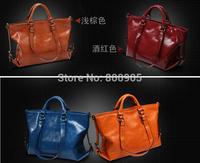 retail HOT!!!New fashional women wax oil leather handbags , one shoulder bag messenger bags woman vintage bag
