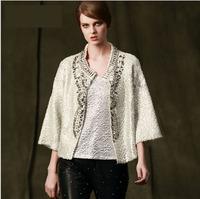 Barocco Style Open Stitch Handmade Beading Short Jacket Coat 2014 Autumn Winter Woman 3/4 Sleeved Cardigan Sweater Silver/Black
