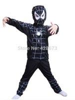 Hot Sale!High quality Halloween Spider Man Spider-Man black Suit Clothes Apparel Spiderman Costume Children Kids Boys New DF-268