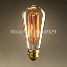 ST64 Edison Light Bulbs Vintage Tungsten Lamp 110V/220V 40W E27 Antique Edison Bulb Home Decorate Lighting for Pendant Light(China (Mainland))