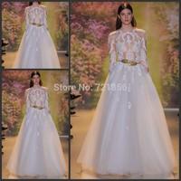 Fashionable 2015 Sexy Long Sleeves Lace vestido de festa A-Line Zuhair Murad Jewel Collar Elegant Evening Dress LE102