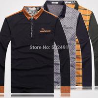 HIgh Quality Fashion Mens Long Sleeve T Shirts 2014 Tops Designer Famous Brand Casual Plaid Striped T-shirts Men's T Shirts