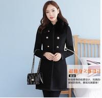 Women Gorgeous Plus Size Wool Blends Coat 2XL,3XL,4XL,5XL,6XL,7XL,8XL Noble Slim Black Long Outwear Free Shipping a1322