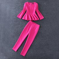 European High Street Fashion Women's Nobel 3/4 Sleeves Rose Pink Ruffles Cotton Top + Pencil Pants Designer Set