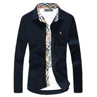 Wholesale Man spring 2014 high quality Casual Shirt, men shirt plaid long collar sleeve mens cloths Thicken