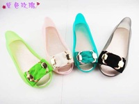 Stylish flat fish mouth jelly shoes, female open toe sandals, bow PVC waterproof shoes