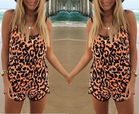 2014 celebrity sexy shorts rompers womens jumpsuit Summer Leopard spaghetti strap backless jumpsuite for women Playsuits