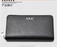 new brand cowhide leather men's wallet business  zipper big capacity handbag for men