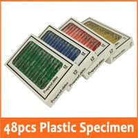 48pcs Toy Educational Prepared Plastic Microscope Slides Biological Specimen 4 boxes for Children Student enlighten education