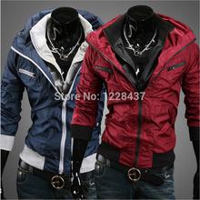 2015 New Top Freeshipping Rib Sleeve Patchwork Autumn winter Europe Men s Jacket Leisure Individual Jackets