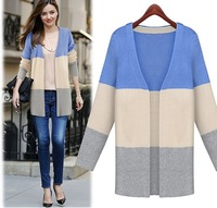 Free Shipping New 2014 fashion women autumn/spring cardigan sweater contrast color patchwork long ladies cardigans 7942