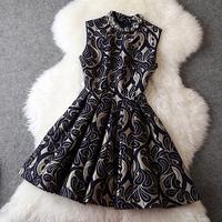 European High Quality Fashion Dress Women's Luxurious Sleeveless Black / Red Floral Print Diamonds Collar A Line Prom Dress