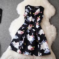 European High Quality Boutique Dress Women's Luxury Sleeveless Multicolor Floral Print Space Cotton Dress