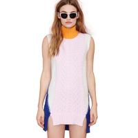 Sweet hit color mosaic Hemp flowers dress knit rib high necked sleeveless long asymmetrical sweater