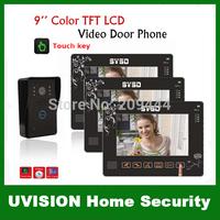 3pcs 9 Inch TFT LCD monitor with 4G SD card 0.3M Pixels CMOS 92 degree 6 Leds IR Camera Video DoorPhone Intercom System