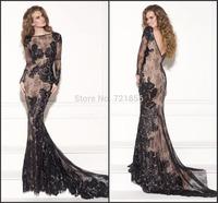 Tarik Ediz 2015 Sexy Jewel Collar Long Sleeve Lace Mermaid Evening Dress Party Formal Dresses vestido de festa LE106