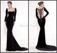 Tarik Ediz 2014 New Fashion Sexy Long Sleeve Mermaid Evening Dress Party Formal Dresses vestido de festa Illusion Back
