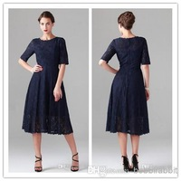 Mother of the Bride Groom Lace Dresses Suits Pant For Beach Wedding Party Fashion Navy Blue Short 2014 Hot Sale New GYU-096