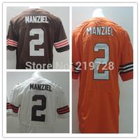 Free/Drop Shipping Johnny Manziel Jersey Elite White Orange Coffee 2014 American Football Rookies Draft Jerseys Cleveland