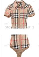 free shipping  women's short sleeve shirts OL designer tops slim fit  formal body shirts England style
