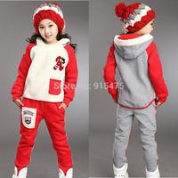 New Arrival autumn / winter Children's wear Girls Flannel embroidery leisure Sport suit warm kids clothes