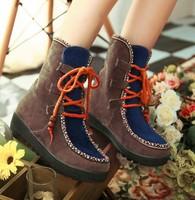 2014 New Hot sale Fashion Hot Sale Flat Mid calf Fashionable Color Leisure Block Splicing Stripe Boots Khaki CD13112901