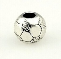 2pcs/lot 925 Silver Glory samba football big hole bead European Beads Fits Silver Charm pandora Bracelets necklaces pendants