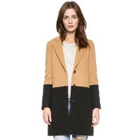 Boyfriend wind hit color blended woollen overcoat leisure slits suit collar black label haoduoyi