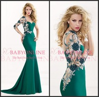 New Sexy Long Sleeve Embroidery Beaded Green Satin Mermaid Evening Dresses Long 2014 vestido de festa Tarik Ediz