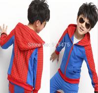 New spring autumn Children's wear Boys spider-man leisure Sport suit warm kids clothes 5set/lot