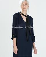 2014 New Fashion women sexy V-neck Bowknot frenum chiffon Shirt dress Lady Brief sweet brand design party dresses#J409