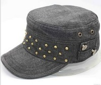 Denim army cap good quality denim military hat rivets army hat for ladies for Fall and winter