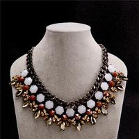 New Fashion Jewelry Brand Luxury Vogue Jewellery Gold Rhinestone Flowers Bijoux Women Statement Choker Necklace VFN131
