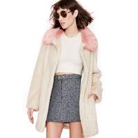 Loose European imitation fur plush coat color collision Lapel mosaic imitation fur in long coats in haoduoyi