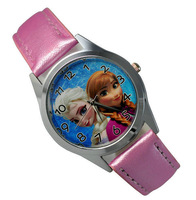 Free Shipping Princess Frozen Wrist Quartz Fashion Pink Leather Watch For Child Girl  Xmas YBX02